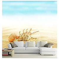 Mrlwy カスタム3 D壁画、3 D美しい貝殻や砂、カフェの壁のリビングルームのソファーテレビの壁の寝室の壁紙 - 350×250 CM