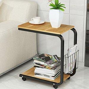 Soges サイドテーブル ノートパソコンスタンド ベッドサイドテーブル ナチュラルメイプル収納棚 付き ナイトテーブル ナチュラル