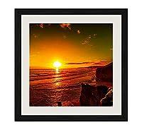 ブラック木製フレーム ホーム装飾ポスター 額入り絵画(海夕焼け赤空海岸夕暮れ)40x40cm