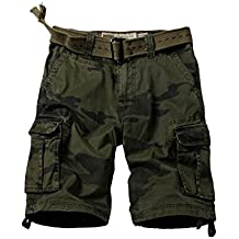 JD-JZ Men's Multi Pocket Fit Cotton Camo Twill Cargo Shorts Beach Shorts 8062F 30 (Size : 80cm)