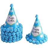 uxcell 装飾の帽子 お祝いの装飾 誕生日パーティー 紙 円錐形 ハートのパタン ブルー 6個セット