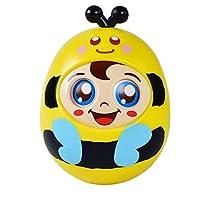 wanrane Cute Kids Roly - Poly Toy Cartoon Safe Baby Pram Pushchair Rattle Blinkサウンドタンブラー教育玩具(ブルー+イエロー)