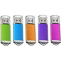 KOOTION 8G 5個セットUSBメモリ マイクロUSB フラッシュメモリー キャップ式 ストラップホール付き (五色:青、紫、緑、赤、オレンジ)二年間保証
