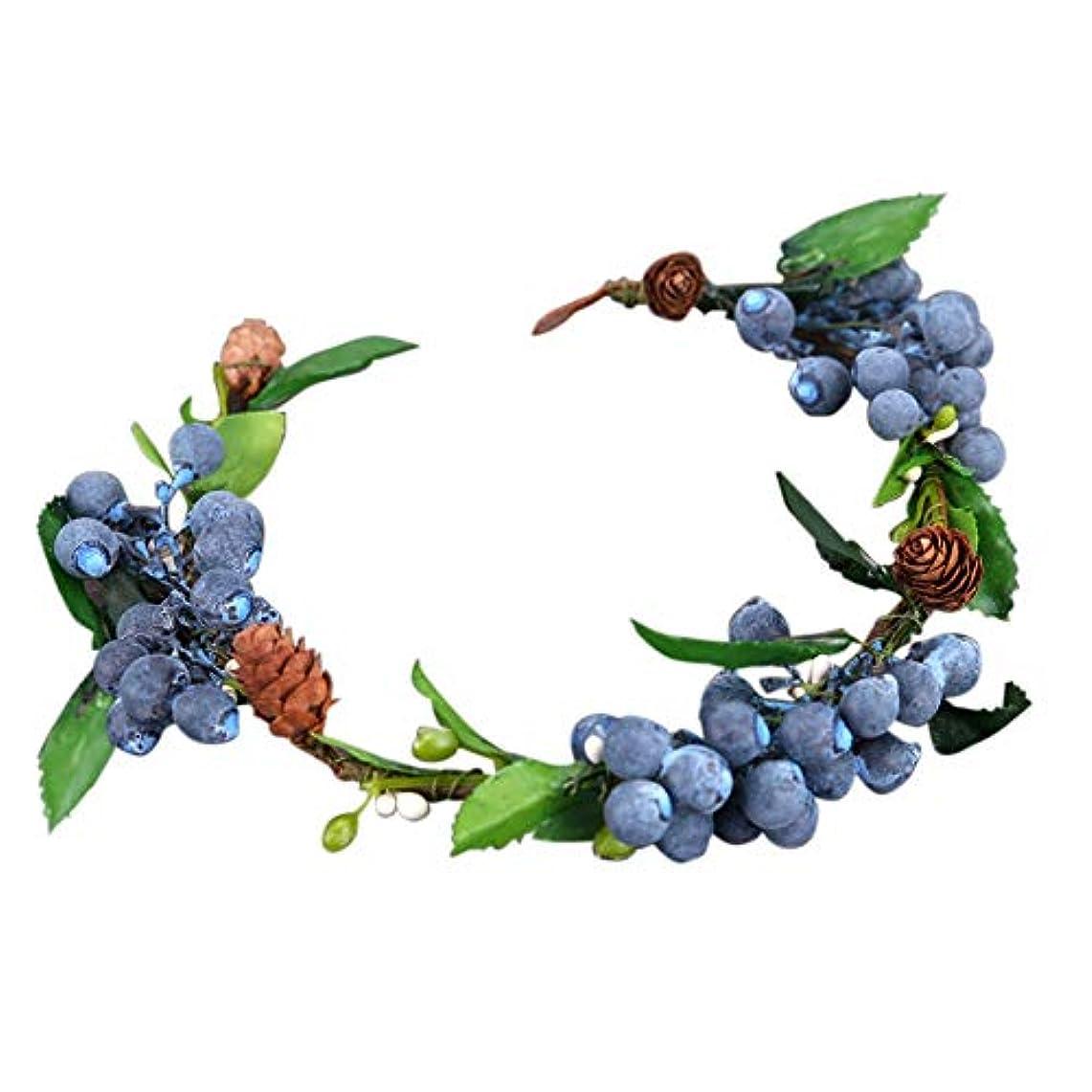 密接にバーターピボットMerssavo 青色のフルーツ花嫁の花輪結婚式の頭髪の髪の装飾品ブライダルオーナメント