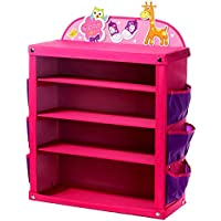 SLH 厚手の子供の靴のラックアセンブリファブリックの靴のキャビネット漫画の小さな靴のキャビネット多層の仕上げ靴の棚 (Color : Pink)
