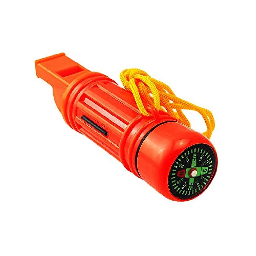 財産章収入Carejoy 5in1多機能の緊急サバイバルホイッスル1個 コンパス、温度計、拡大鏡、フラッシュライト、ミラー、ストレージカプセル機能付き 防災用品 アウトドア必要品