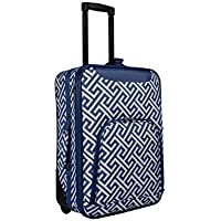 World Traveler Lightweight 20 Carry-on Rolling Suitcase-Navy Greek Key Navy White Greek Key [並行輸入品]