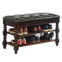 靴棚ラック純木PU防水多機能変更靴ベンチ家庭用シンプル簡単にきれいにする、2色3サイズ GFMING (色 : B, サイズ さいず : 80x35x48cm)