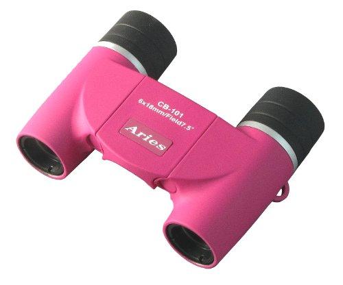 MIZAR 双眼鏡 6倍 18mm 口径 ダハプリズム式 コンパクト フリーフォーカス ピンク CB-101PK