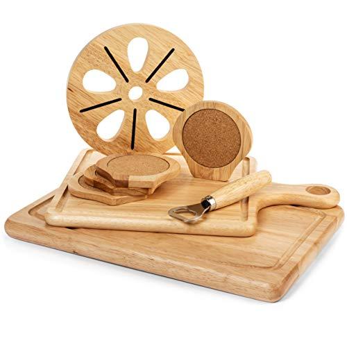 『Best Kitchen Essentials まな板 厚手木製ブロック チョッピングカービングボード 1台 竹製チーズボードオーガナイザー 木製コースター4枚 栓抜き1つ 大型マット1つ 鍋つかみギフトセット』の6枚目の画像
