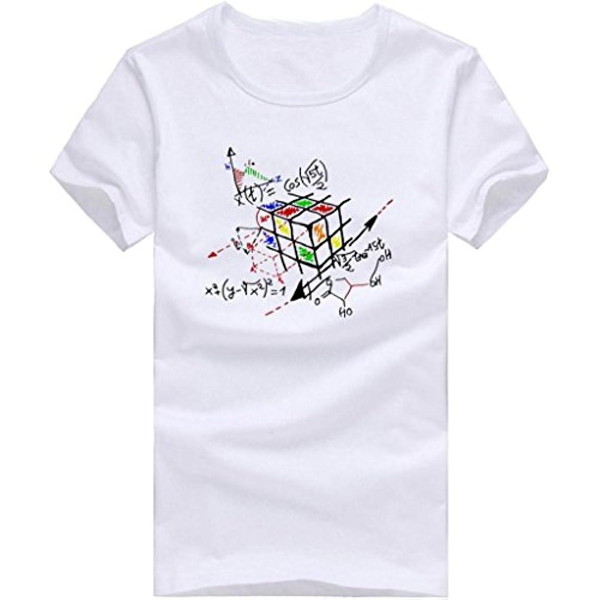 支払ういちゃつく旋回Tシャツ メンズ Kukoyo 夏 ルービックキューブ 数学 化学公式柄 創意 ファション カジュアル おもしろ おしゃれ 快適 半袖 吸汗速乾 無地トップス ストリート 薄手 体型カバー