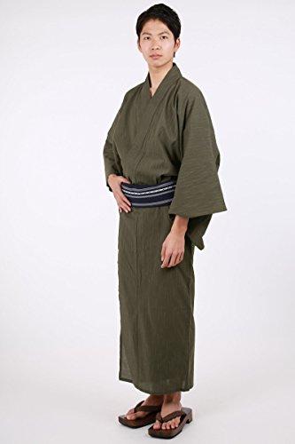 浴衣メンズセット4点セット(綿麻浴衣角帯腰紐下駄)キングサイズメンズ浴衣185cm以上(4L,抹茶)
