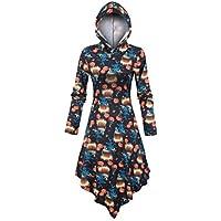 liyaoyaoya Women 3D Halloween Print Long Sleeve Hooded Asymmetric DressHooded Pullover