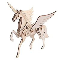 Vigeiya Unicorn Puzzle 3D Wooden Jigsaw Puzzle Battle Steed Kids Colouring Toys Adults Collection Decoration