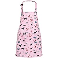 "Sevenstars 100% Cotton Kids Girls Aprons, Cupcake Pattern Cute Baking Apron Adjustable Kitchen Apron for Children Daughters Litter Girls, Poly-Cotton, Animal, 17.7"" x 21.7"""