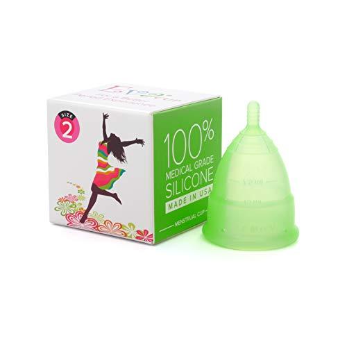 【月経カップ】エヴァカップ(EvaCup)初めてでも使いやすい生理カップ コットンポーチ付き/メドウ(黄緑)・サイズ1(スモール)