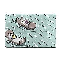 ラグ ラグマット アザラシ 水泳 のんびり カーペット 洗える 滑り止め付き 防ダニ 抗菌防臭 夏 冷房対策 ふわふわ 床暖房対応 センターラグ フランネル かわいい 絨毯 長方形 北欧 おしゃれ 90x60cm 180x120cm BOLACO