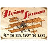 Flying Lessons Vintage Metal Sign Aviation Airplane Humor Steel TIN Sign 7.8X11.8 INCH