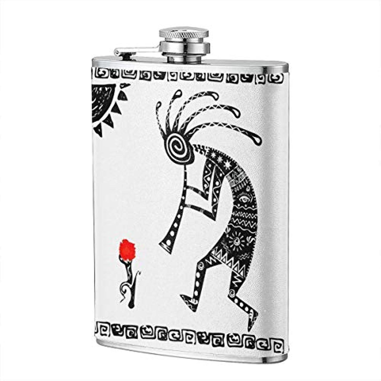 汚染解釈落胆したスキットル お酒壺 8オンス フラスコ お酒 ボトル ステンレススチル インディアンスタイルミュージック エキゾチック 持ち運び易い ポケット入れ 軽い 錆無し 贈り物 ハイキング 格別 キャップ一体型 上品