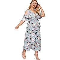 Milumia Plus Size Button up Dress Short Sleeves Floral Maxi Dresses Boho Fit Flare A Line Dress