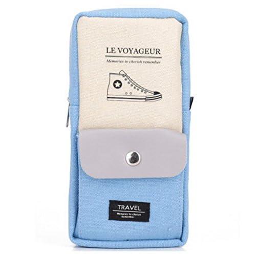 [ MT On&Do ] ペンケース 筆箱 ペン入れ 縦型 シンプル ワンポイント ポケット付き ユニ カジュアル 収納 (ブルー)