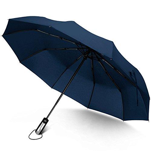 RAINLAX 折りたたみ傘 ワンタッチ自動開閉傘 10本傘骨 耐強風 晴雨兼用 撥水性 梅雨対策 直径103センチ ディープブルー