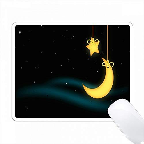 かわいいぶら下がっている星と月は暗い恒星の空に対して PC Mouse Pad パソコン マウスパッド