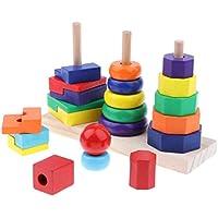KESOTO 子ども 幼児 早期学習 認知おもちゃ 3列 木製 幾何学ブロック スタックタワーセット
