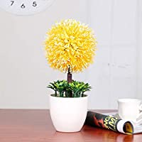 NANNAN Artificial flower シミュレーション植物盆栽ホームデコレーションプラスチックグリーン植物偽植木鉢植物デスクトップリビングルーム装飾装飾 (Color : Yellow)