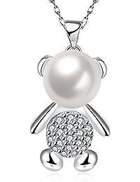 lureme スウィートスタイルシルバーメッキ真珠のペンダントネックレスとかわいいくま(01003811)