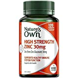 Nature's Own High Strength Zinc 30mg - Supports Immune System Function and Healthy Skin - Maintains Men's Reproductive Health