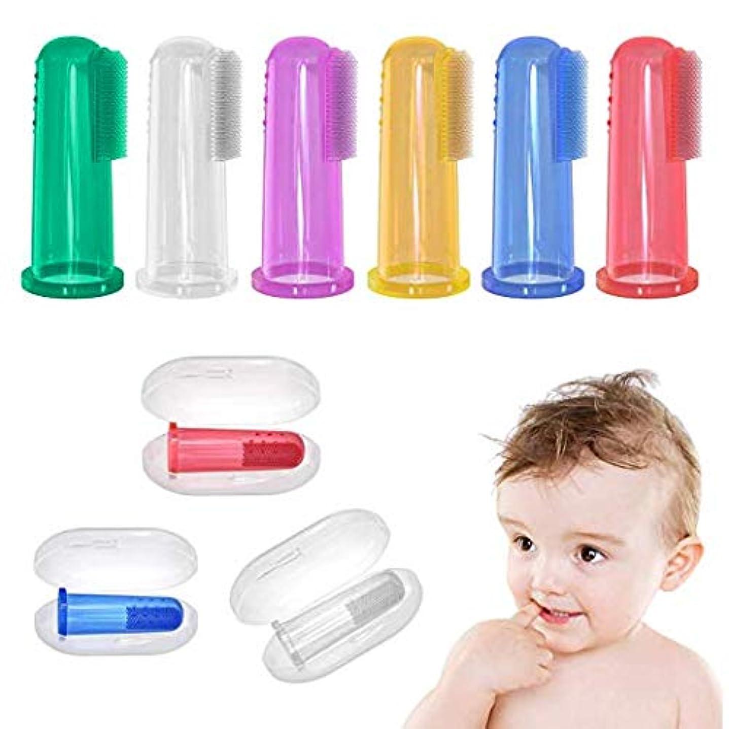遮るミュージカル縫い目ケースセット付きベビー歯ブラシ(6 PCS)、赤ちゃん用フィンガー歯ブラシ