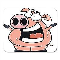 マウスパッドピンク動物漫画豚幸せな表情キャラクタークリップコミックマウスパッド用ノートブック、デスクトップコンピュータマウスマット、オフィス用品