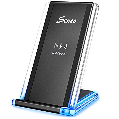 ワイヤレス充電器 Seneo QI 急速 アクリルエッジ USBケーブル付 iPhone 8 , iPhone 8 Plus , iPhone X , Galaxy S9 /S9 Plus/Nexus/Kyocera/他のQi対応機種 スタンド型