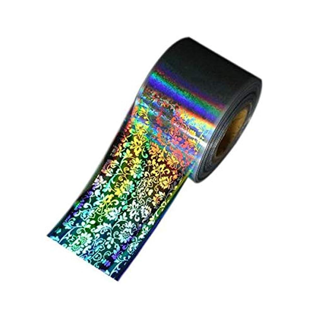 熟達感覚パイントSUKTI&XIAO ネイルステッカー 1ロール4Cm * 1Mネイルホイルレーザーホログラフィックブラックフラワーネイルフィルムフルカバーネイルステッカートランスファーフォイルデカールネイル、グレー