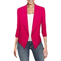 Womens Casual Jacket Work Blazer Office Jacket Slim 3/4 Sleeve Blazer