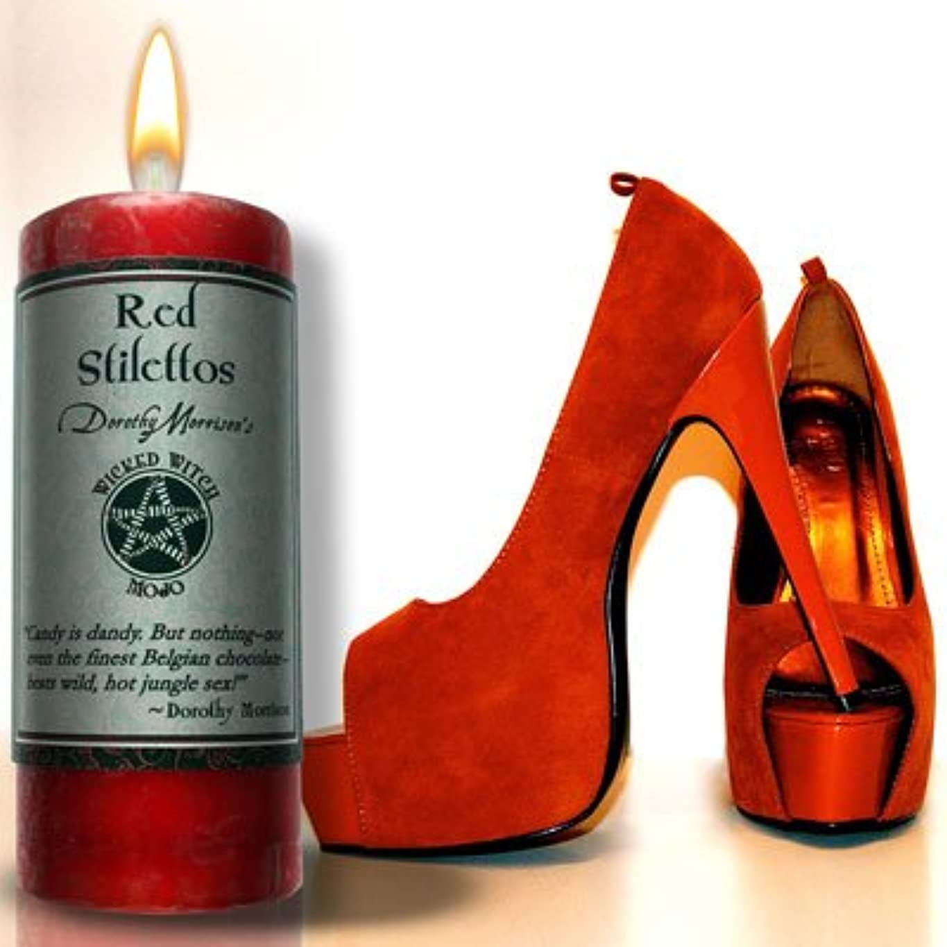 錆び趣味オッズWicked Witch MojoレッドStiletto Candle by Dorothy Morrision