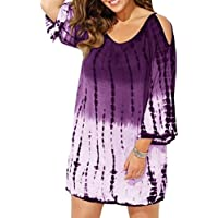 Women Cold Shoulder Swimsuit Summer Cover Ups Tie-Dyed Beach Cover-ups Mini Dress