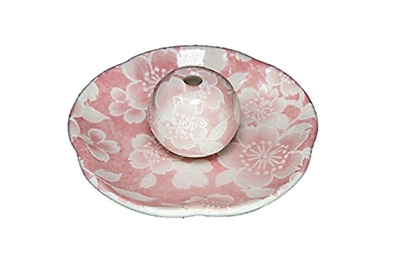 ラップ作成者批判桜友禅 ピンク 花形香皿 お香立て 日本製 製造 直売品
