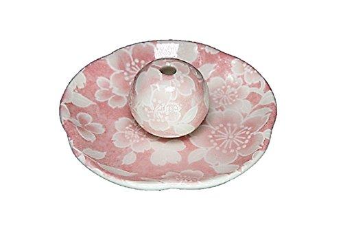 桜友禅 ピンク 花形香皿 お香立て 日本製 製造 直売品