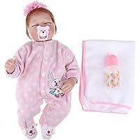 Baoblaze 22インチリボーンドール人形 ソフト シリコン製 新生児人形 ピンク服