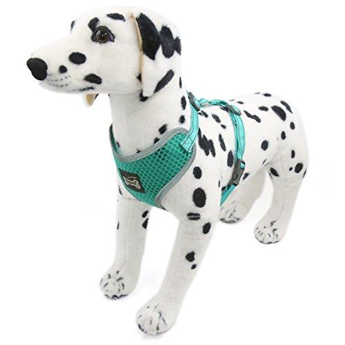 uxcell ハーネス 犬用ハーネス 子犬ハーネス 散歩 首輪 中型犬 反射ベスト 歩行補助 調整可能 ソフト メッシュ グリーン M