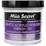 mia secret white acrylic nail powder 3d - french - 120ml bottle -made in usa
