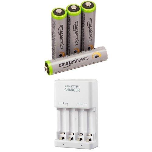 Amazonベーシック 高容量充電式ニッケル水素電池 急速充電器セット 単4形充電池4個パック付