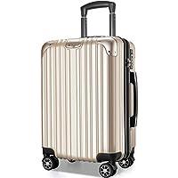 VARNIC スーツケース キャリーバッグ キャリーケース 機内持込 超軽量 大型 静音 ダブルキャスター 耐衝撃 360度回転 TSAローク搭載 ファスナー式 旅行 ビジネス 出張 人気色【永久保証】(7色3サイズ対応) (L サイズ(98L), 金)