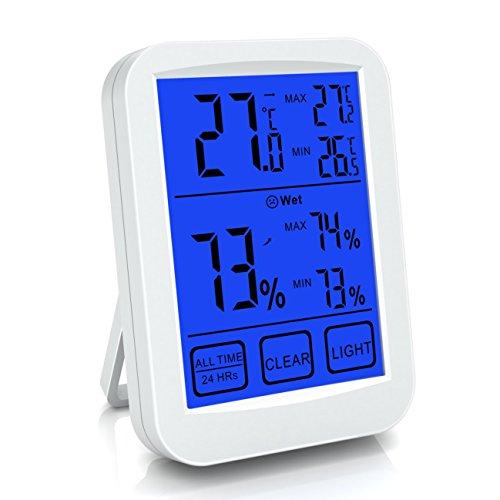 Ableweデジタル湿度計 温度計表示 室内 LCD大画面温湿度計 最高最低温湿度表示 タッチスクリーンとバックライト機能あり 置き掛け両用タイプ 健康管理 操作簡単