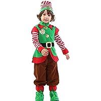 EIMEI【サンタスーツ】クリスマス 子供 衣装 男の子【上着+パンツ+帽子+靴カバー】4点セットサンタ衣装 (100CM)
