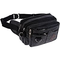 Genda 2Archer Men's Vintage Canvas Waist Bag Multiple Pocket Fanny Pack Hip Purse Belt Bag Bum Bag for Sports Travel