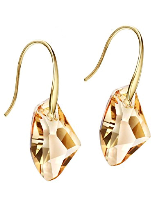 (ネオグロリー)Neoglory Jewelry スワロフスキーからクリスタル飾る 揺れる チャーム イエロー クリスタル ゴールド  ピアス crystals from Swarovski