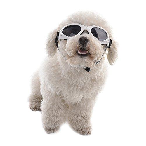 ペットサングラス ゴーグル 犬用 犬ゴーグル 猫用メガネ 眼鏡 紫外線対策 調節可能 折りたたみ可能 小中型犬用 猫用 ペット用品 愛犬の眼の保護に 紫外線対策 車酔い対策 (ホワイト)